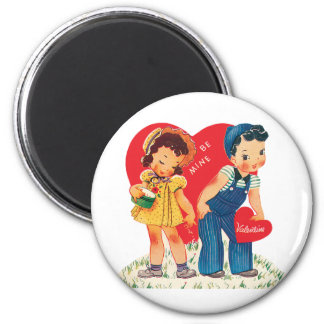 Vintage Cute Valentine's Day, Boy and Girl Hearts 2 Inch Round Magnet