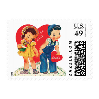 Vintage Cute Valentine's Day, Boy and Girl Hearts Postage