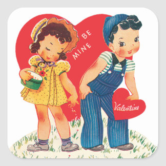 Vintage Cute Valentine's Day, Boy and Girl Hearts Square Sticker