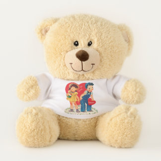 Vintage Cute Valentine's Day, Boy and Girl Hearts Teddy Bear
