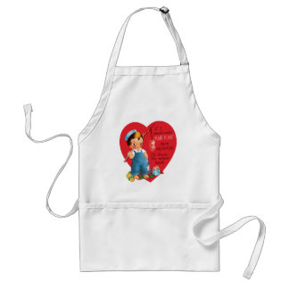 Vintage Cute Valentine's Day, Boy Fishing Hearts Adult Apron