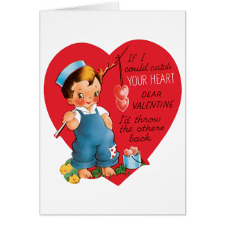 Vintage Cute Valentine's Day, Boy Fishing Hearts Card
