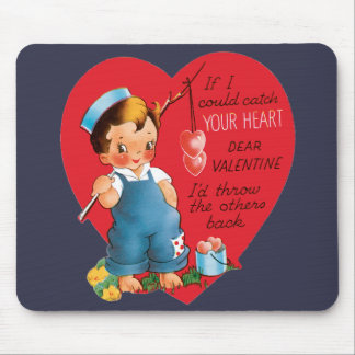 Vintage Cute Valentine's Day, Boy Fishing Hearts Mouse Pad