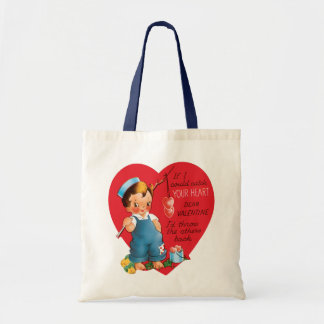 Vintage Cute Valentine's Day, Boy Fishing Hearts Tote Bag