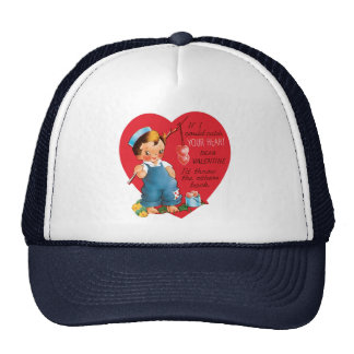 Vintage Cute Valentine's Day, Boy Fishing Hearts Trucker Hat