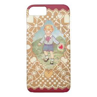 Vintage Cute Valentine's Day, Boy in Meadow iPhone 7 Case