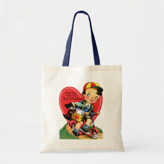 Vintage Cute Valentine's Day, Boy on a Scooter Tote Bag