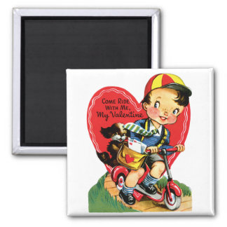 Vintage Cute Valentine's Day, Boy on Scooter 2 Inch Square Magnet