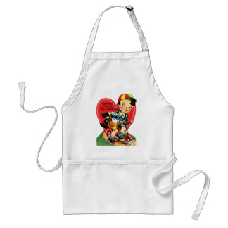 Vintage Cute Valentine's Day, Boy on Scooter Adult Apron