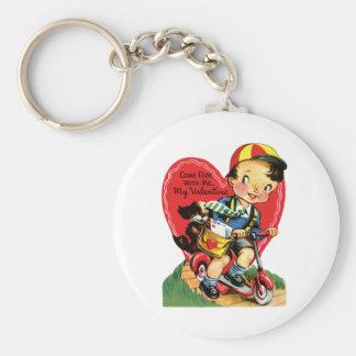 Vintage Cute Valentine's Day, Boy on Scooter Keychain