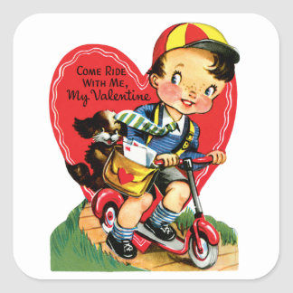 Vintage Cute Valentine's Day, Boy on Scooter Square Sticker