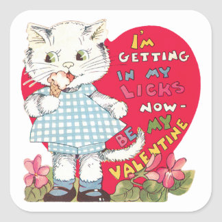 Vintage Cute Valentine's Day, Cat Eating Ice Cream Square Sticker