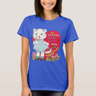 Vintage Cute Valentine's Day, Cat Eating Ice Cream T-Shirt