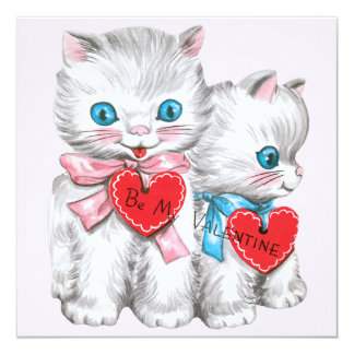 Vintage Cute Valentine's Day Cats, Fluffy Kittens Card