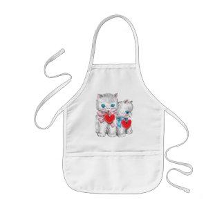Vintage Cute Valentine's Day Cats, Retro Kitten Kids' Apron