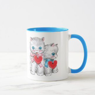 Vintage Cute Valentine's Day Cats, Retro Kitten Mug