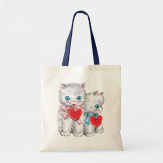 Vintage Cute Valentine's Day Cats, Retro Kitten Tote Bag