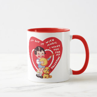 Vintage Cute Valentine's Day, Child Music Banjo Mug