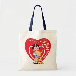Vintage Cute Valentine's Day, Child Music Banjo Tote Bag