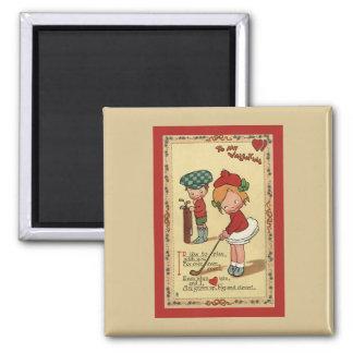 Vintage Cute Valentine's Day, Children Sports Golf 2 Inch Square Magnet