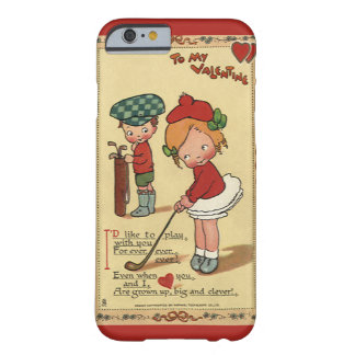 Vintage Cute Valentine's Day, Children Sports Golf Barely There iPhone 6 Case