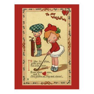 Vintage Cute Valentine's Day, Children Sports Golf Postcard