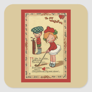 Vintage Cute Valentine's Day, Children Sports Golf Square Sticker
