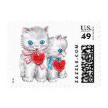 Vintage Cute Valentine's Day, Fluffy Kitten Cats Stamp