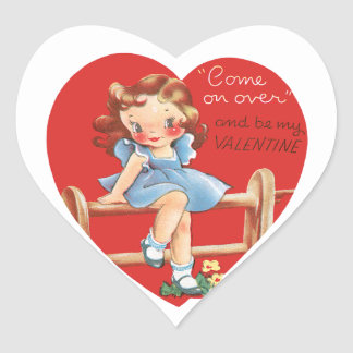 Vintage Cute Valentine's Day, Girl on Fence Heart Sticker