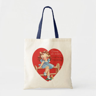 Vintage Cute Valentine's Day, Girl on Fence Tote Bag