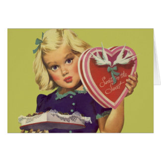 Vintage Cute Valentine's Day, Girl with Chocolates Card