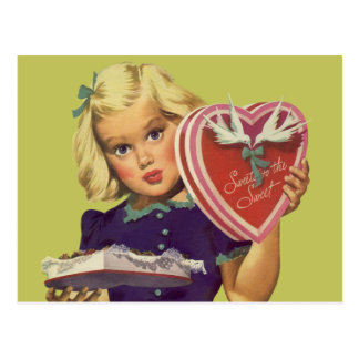 Vintage Cute Valentine's Day, Girl with Chocolates Postcard