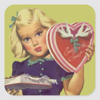 Vintage Cute Valentine's Day, Girl with Chocolates Square Sticker