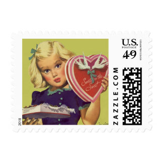 Vintage Cute Valentine's Day, Girl with Chocolates Stamp