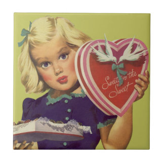 Vintage Cute Valentine's Day, Girl with Chocolates Tile