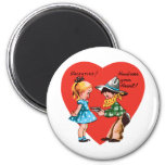 Vintage Cute Valentine's Day, Girl with Cowboy 2 Inch Round Magnet