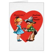 Vintage Cute Valentine's Day, Girl with Cowboy Card