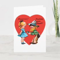 Vintage Cute Valentine's Day, Girl with Cowboy Holiday Card