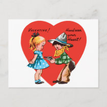 Vintage Cute Valentine's Day, Girl with Cowboy Holiday Postcard