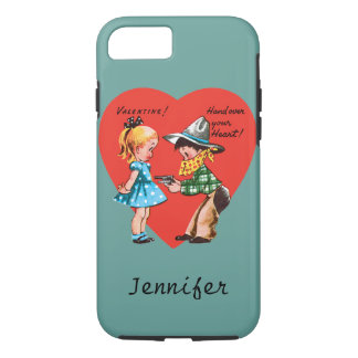 Vintage Cute Valentine's Day, Girl with Cowboy iPhone 7 Case