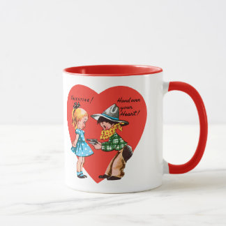 Vintage Cute Valentine's Day, Girl with Cowboy Mug