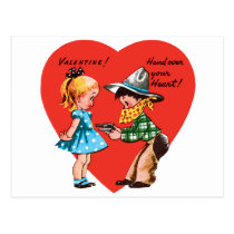 Vintage Cute Valentine's Day, Girl with Cowboy Postcard