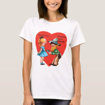 Vintage Cute Valentine's Day, Girl with Cowboy T-Shirt