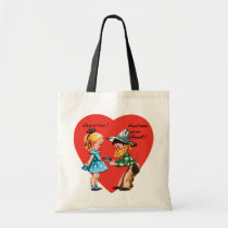 Vintage Cute Valentine's Day, Girl with Cowboy Tote Bag