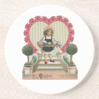 Vintage Cute Valentine's Day, Girl with Flowers Beverage Coaster