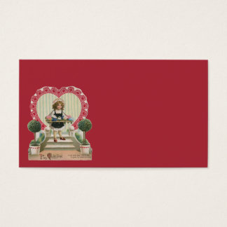 Vintage Cute Valentine's Day, Girl with Flowers Business Card
