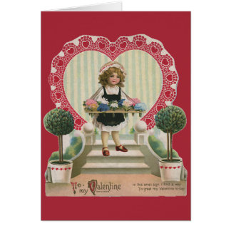 Vintage Cute Valentine's Day, Girl with Flowers Card