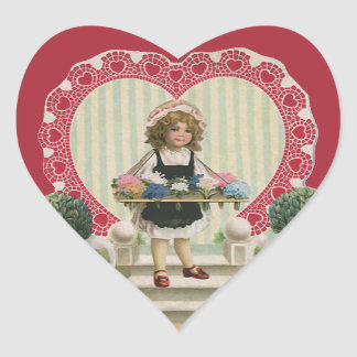 Vintage Cute Valentine's Day, Girl with Flowers Heart Sticker