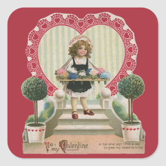 Vintage Cute Valentine's Day, Girl with Flowers Square Sticker
