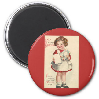Vintage Cute Valentines Day, Girl with Love Letter 2 Inch Round Magnet